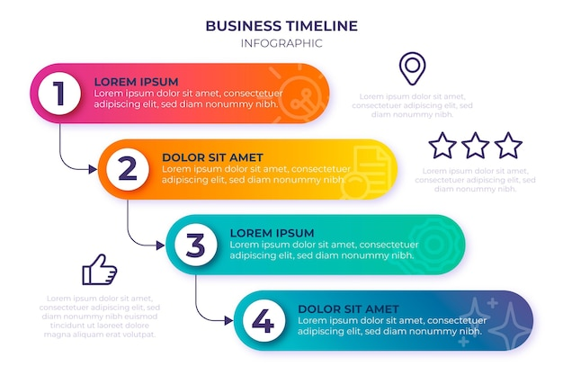 Szablon infografiki osi czasu gradientu