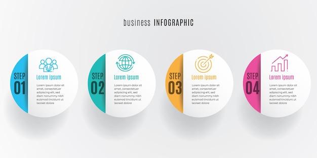 Szablon infografiki osi czasu koła 4 kroki