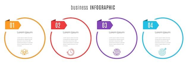 Szablon infografiki osi czasu koło 4 kroki
