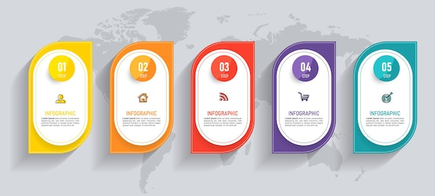 Szablon infografiki osi czasu pięciu kroków
