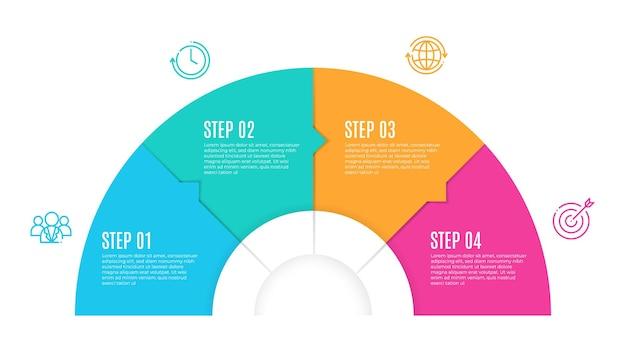 Szablon infografiki osi czasu półkole 4 kroki