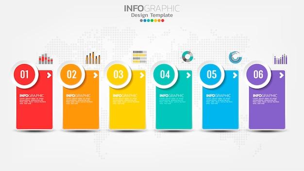 Szablon infografiki osi czasu z 6 elementami wykresu procesu przepływu pracy.