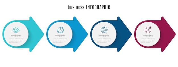 Szablon infografiki osi czasu ze strzałką i okręgiem 4 kroki