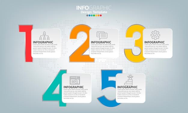 Szablon infografiki osi czasu ze strzałkami i 5 opcjami płaska konstrukcja