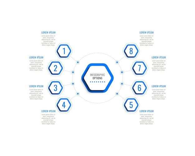 Szablon infografiki ośmiu kroków z niebieskimi sześciokątnymi elementami z cieniem na białym tle