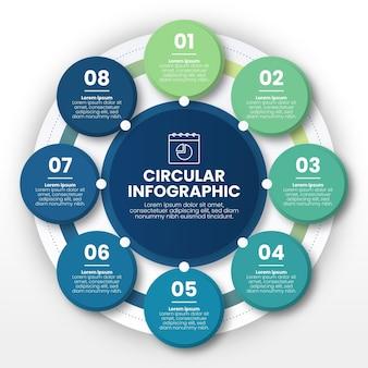 Szablon infografiki płaskiego diagramu kołowego
