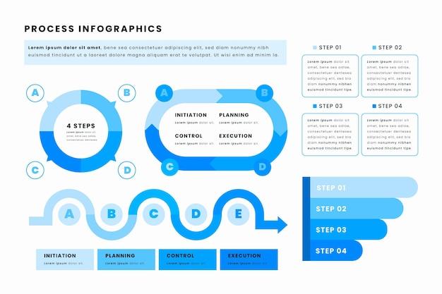 Szablon infografiki płaskiego procesu