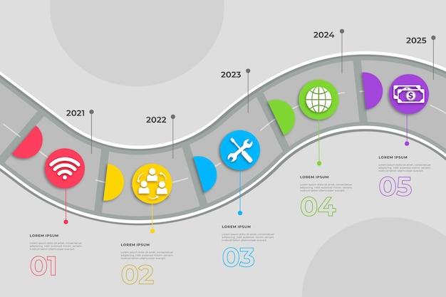 Szablon infografiki płaskiej mapy drogowej