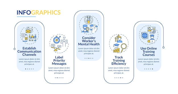 Szablon infografiki powrotu pracownika. zdrowie psychiczne pracownika, elementy projektu prezentacji kursów. wizualizacja danych z krokami. wykres osi czasu procesu. układ przepływu pracy z ikonami liniowymi