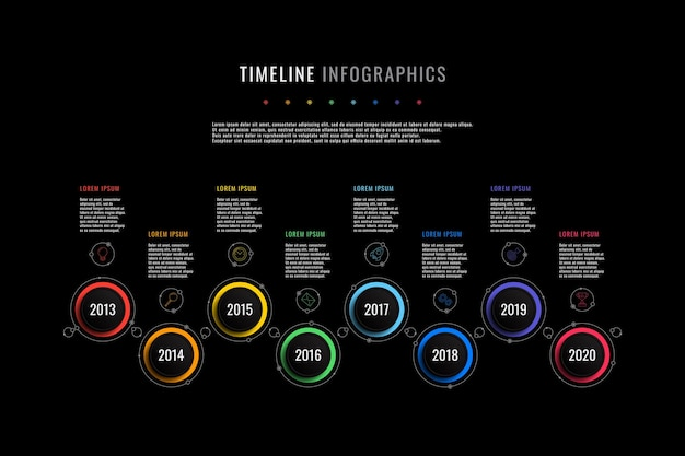 Szablon infografiki poziomej osi czasu z okrągłymi elementami wskazującymi rok i polami tekstowymi