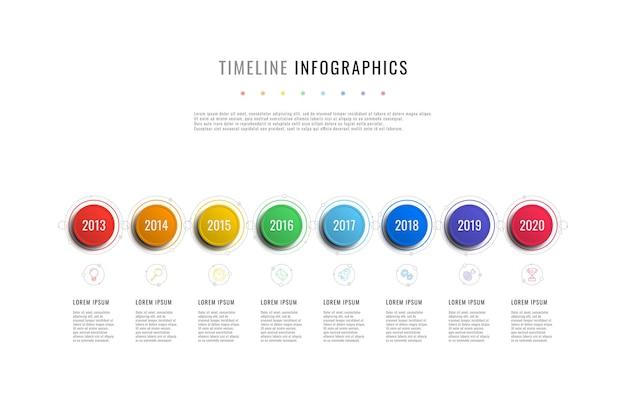 Szablon infografiki poziomej osi czasu ze wskaźnikami roku z okrągłymi elementami i polami tekstowymi