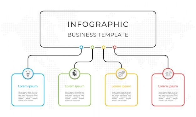 Szablon infografiki prezentacji 4 opcje.