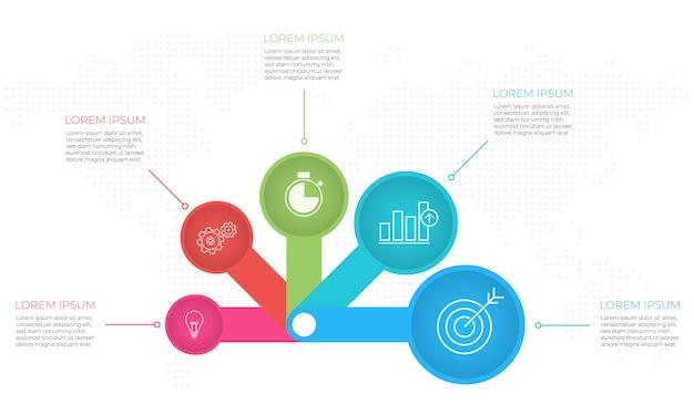 Szablon infografiki prezentacji 5 opcji.