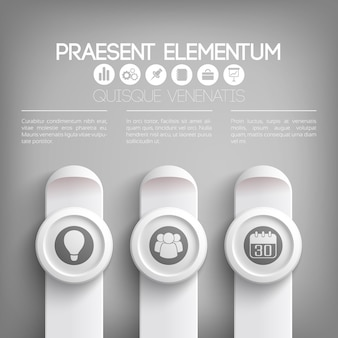 Szablon infografiki prezentacji biznesowej w kolorach szarym z ikonami tekstu na okręgach i pionowych prostokątach