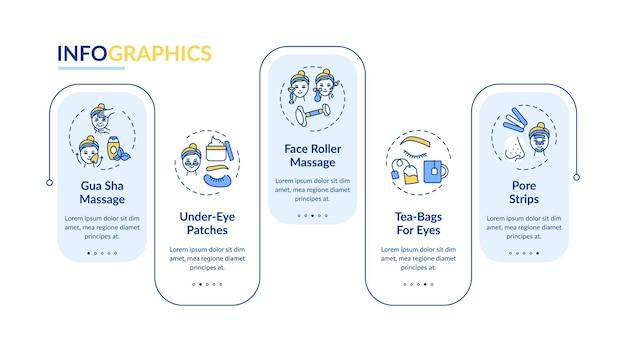 Szablon infografiki procedur pielęgnacji twarzy. masaż rolkowy, elementy projektu prezentacji torebek herbaty. wizualizacja danych z krokami. wykres osi czasu procesu. układ przepływu pracy z ikonami liniowymi