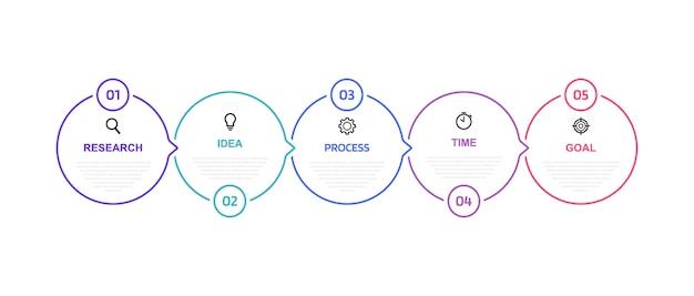 Szablon infografiki procesu biznesowego z opcjami lub krokami. cienka linia . ilustracja graficzna.