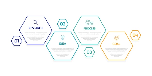 Szablon infografiki procesu biznesowego z opcjami lub krokami. nowoczesny układ papieru z cienką linią. ilustracja graficzna.