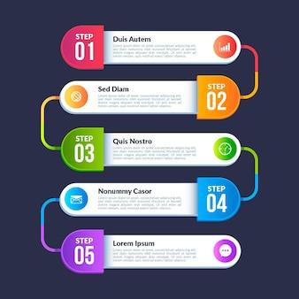 Szablon infografiki procesu gradientowego