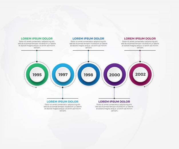 Szablon infografiki przepływu pracy biznesu osi czasu