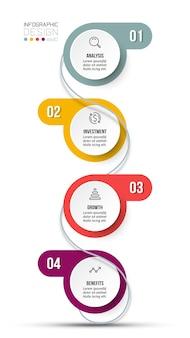 Szablon infografiki przepływu pracy w 4 krokach