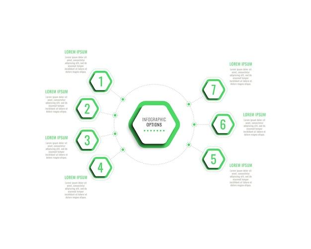 Szablon infografiki siedmiu kroków z zielonymi sześciokątnymi elementami z cieniem na białym tle