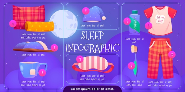 Szablon infografiki snu kreskówka