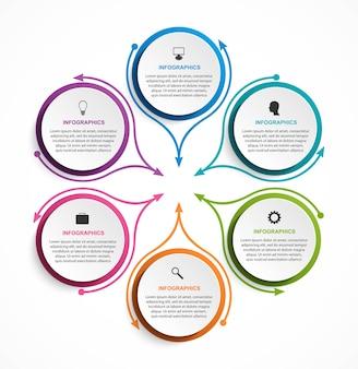 Szablon infografiki streszczenie opcje. infografiki do prezentacji biznesowych.