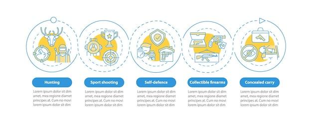 Szablon infografiki strzelectwa sportowego. pistolet do elementów projektu prezentacji samoobrony. wizualizacja danych z krokami. wykres osi czasu procesu. układ przepływu pracy z ikonami liniowymi