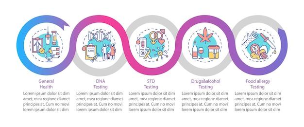 Szablon infografiki testów diagnostycznych. elementy projektu prezentacji testów std, narkotyków i alkoholu. wizualizacja danych w pięciu krokach. wykres osi czasu procesu. układ przepływu pracy z ikonami liniowymi