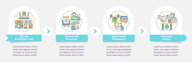 Szablon infografiki ve sponsoringu. wirtualna wystawa, upominki, elementy projektu prezentacji.