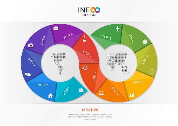Szablon infografiki w postaci znaku nieskończoności z 12 krokami. szablon do prezentacji, reklam, layoutów, raportów rocznych, projektowania stron internetowych itp