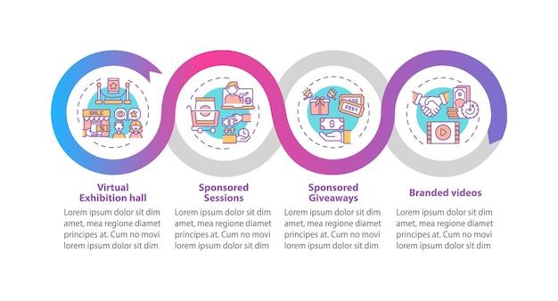 Szablon infografiki wektora ve sponsoringu. markowe filmy, elementy projektu prezentacji sesji sponsorowanych. wizualizacja danych w 4 krokach. wykres osi czasu procesu. układ przepływu pracy z ikonami liniowymi
