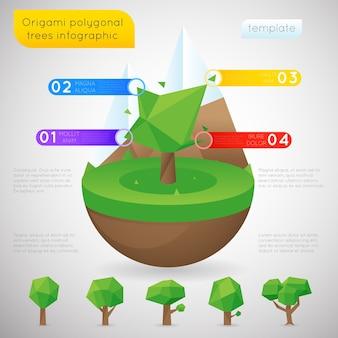 Szablon infografiki wielokątne origami drzew. naturalny porządek wielokątów, zawartość statyczna