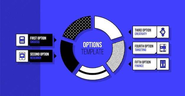 Szablon infografiki wykres kołowy z pięciu segmentów