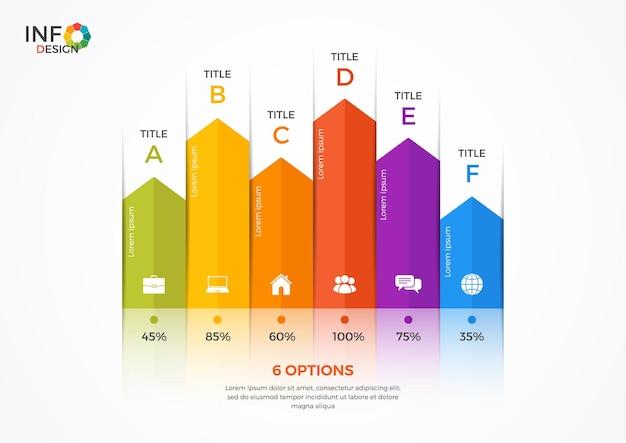 Szablon infografiki wykresu kolumnowego z 6 opcjami. elementy tego szablonu można łatwo dostosowywać, przekształcać, dodawać/uzupełniać, usuwać oraz zmieniać kolor.