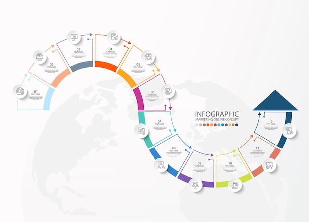 Szablon infografiki z 12 krokami, procesem lub opcjami, schematem procesu, używanym do schematu procesu, prezentacji, układu przepływu pracy, schematu blokowego, infografiki. ilustracja wektorowa eps10.