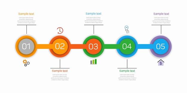 Szablon infografiki z 5 opcjami lub krokami dla biznesu