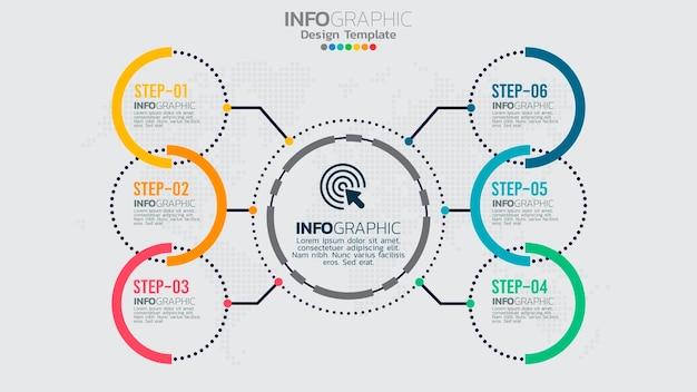 Szablon Infografiki Z 6 Elementami Schematu Procesu Przepływu Pracy. Premium Wektorów