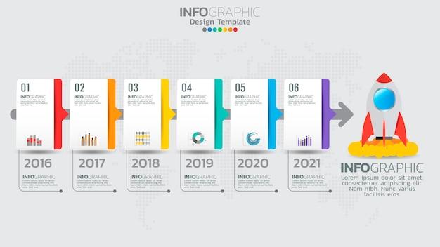 Szablon infografiki z 6 elementami schematu procesu przepływu pracy.