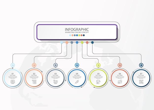 Szablon infografiki z 7 krokami, procesem lub opcjami, schematem procesu, używanym do schematu procesu, prezentacji, układu przepływu pracy, schematu blokowego, infografiki. ilustracja wektorowa eps10.