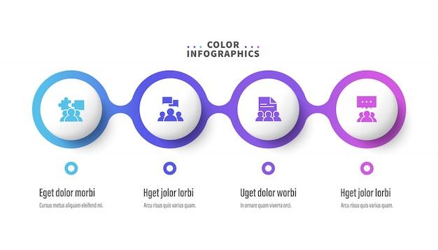 Szablon infografiki z czterema krokami
