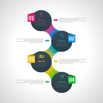 Szablon infografiki z czterema opcjami w stylu materiału. może być używany jako wykres, numerowany baner, prezentacja, wykres, raport, strona internetowa itp.