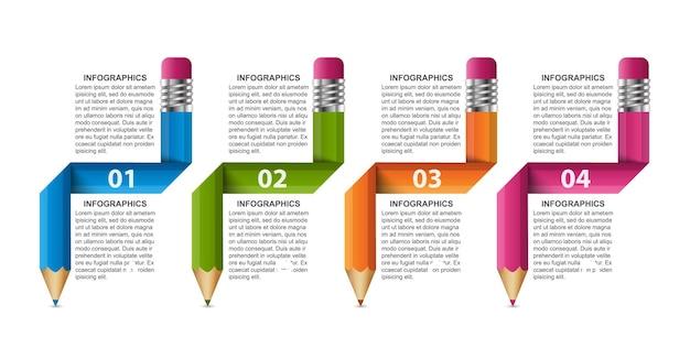 Szablon infografiki z ołówkiem