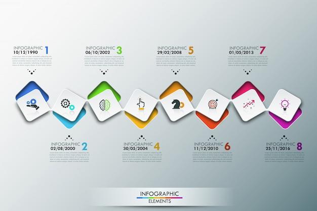 Szablon infografiki z osią czasu i 8 połączonymi kwadratowymi elementami