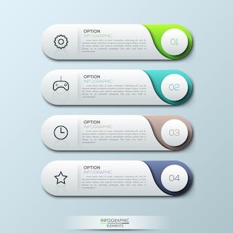 Szablon infografiki z osobnymi zaokrąglonymi prostokątami