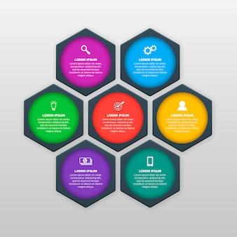 Szablon infografiki z sześcioma opcjami w stylu materiału. może być używany jako wykres, numerowany baner, prezentacja, wykres, raport, strona internetowa itp.