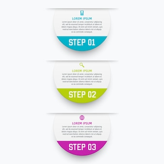 Szablon infografiki z trzema opcjami w stylu materiału. może być używany jako wykres, numerowany baner, prezentacja, wykres, raport, strona internetowa itp.