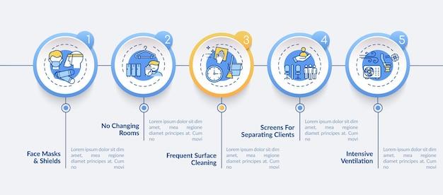 Szablon infografiki zasady bezpieczeństwa salonu. wentylacja, czyszczenie powierzchni elementy projektu prezentacji. wizualizacja danych z krokami. wykres osi czasu procesu. układ przepływu pracy z ikonami liniowymi
