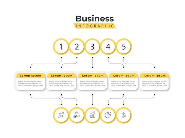 Szablon infografiki żółty 5 kroków