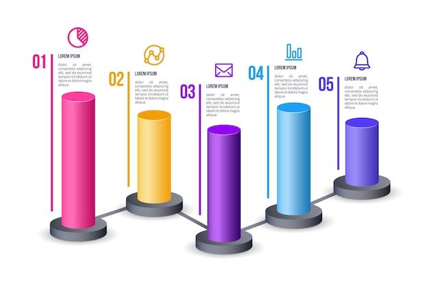 Szablon infographic 3d paski